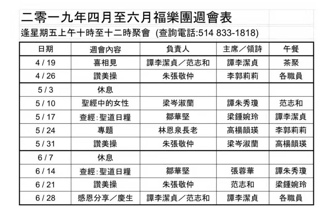 福樂團2019年4-6月週會表